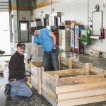 Meridian volunteers built 10 flower beds for a local veteran's garden.